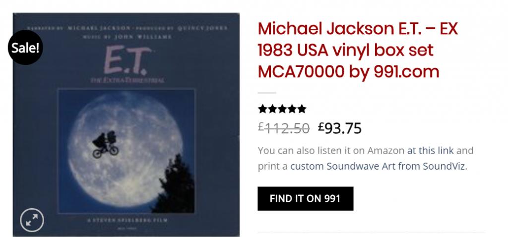 -Michael Jackson E.T. - EX 1983 USA vinyl